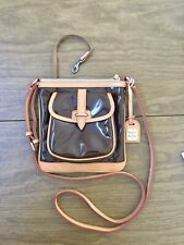 Dooney & Bourke BROWN Patent Leather & Tan Crossbody Purse $198