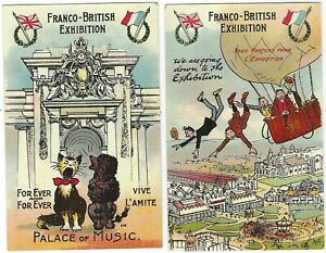 1908 Franco British Exhibition National Series comic cards x 7 unused and used