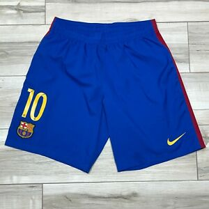 Barcelona Nike Dri-Fit Soccer Shorts Mens Size Large Blue LINED #10 Lionel Messi