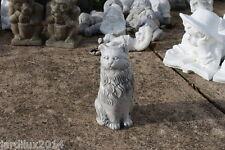 Statue chat américain assis en pierre reconstituée, patine grise
