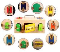 Montessori Wooden Lock Box Toys For Kids Children Educational Preschool Gift