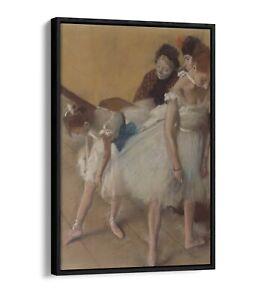 EDGAR DEGAS, DANCE EXAMINATION -FLOATER EFFECT FRAMED CANVAS ART PRINT- WHITE