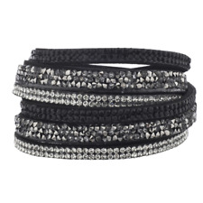 Lux Accessories Black Suede Cluster Stone Crystal Jet Double Row Wrap Bracelet