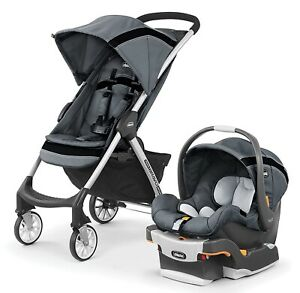 Chicco Mini Bravo Sport Travel System Stroller w/ KeyFit Infant Car Seat Carbon