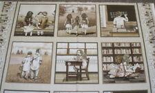 Growing Up sepia childrens blocks Elizabeth Studio fabric