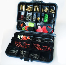 128pcs Outdoor Fishing Tackle Set Texas Rig Fishing Hooks Swivels Brass