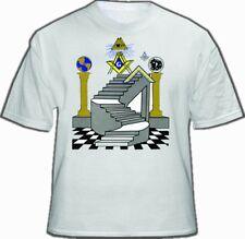 Freemason T-Shirt - Masonic Apparel - Colorful Masonic Steps with Double Pillars