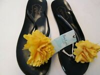 Black Flip Flops Yellow Flower Sandals by Mud Pie, Size 7, 8, or 9, NWT