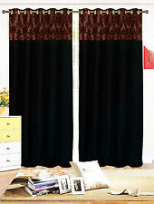 PAIR OF FLOCK DAMASK FULLY LINED EYELET CURTAINS BLACK BROWN CLEARANCE