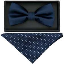 TiesRus Navy Hand Made Mens Bow Tie and Handkerchief Set