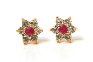 9ct Gold Ruby and CZ Cluster Studs Earrings Gift Boxed Made in UK
