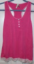 EUC Womens / Girls Honeydew Pink Pajama Racerback Top Sleepwear w/ Lace Trim ~ S