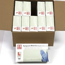 1000 Large SynGuard Latex Free Blue Nitrile Gloves Ngpf 7003 New 10 Boxes