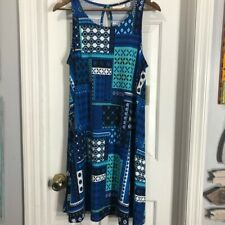 Bobbie brooks soft stretchy tank dress blue teal patchwork print Sz L
