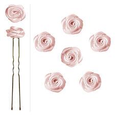 6 épingles pics cheveux chignon mariage mariée danse fleurs en satin rose pastel