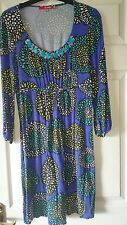 Boden womens classic casual 3/4 sleeve tunic in blue floral size 12