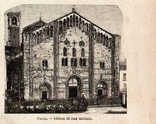 Stampa antica PAVIA facciata della Chiesa di San Michele 1899 Old print