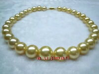"AAAAA 18""11-12MM NATURAL real south sea golden yellow pearl necklace 14K gold"
