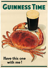Vintage Poster GUINNESS Crab Drink Advertising Beer PRINT Kitchen Bar Pub A3 A4