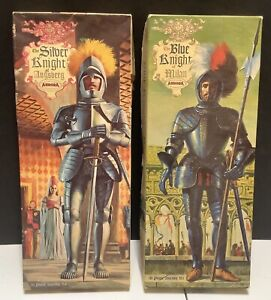 AURORA BLUE KNIGHT OF MILAN & SILVER KNIGHT OF AUGSBERG PLASTIC MODELS COMPLETE