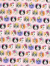 Fabric 100% Cotton Timeless Treasures C6171 Pink Cat Heads