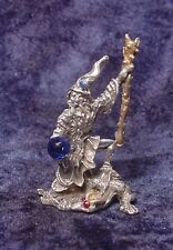 Pewter Wizard Standing on Dragon - Crystal Accents - Satin Finish