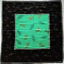 Rare New Vintage Anne Klein Signed Green Black Gold Leaves Silk Scarf Nwot