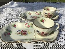 More details for 2 x vintage burleigh royal crown pink rose and floral tennis sets