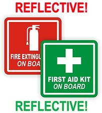 REFLECTIVE 2inch Fire Extinguisher | FIrst Aid Kit On Board Decals | Stickers