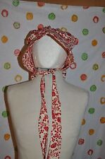 HANDCRAFTED OZARKS colonial cival war RED PAISLY GRANNY SUN BONNET