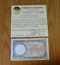 LIRE 50 LUPA CAPITOLINA BI 1 2 1944 RARISSIMA certificata MB/BB SUBALPINA