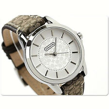 NWT Coach Women Watch Stainless BROWN Classic Logo Signature Strap 14501525 $195