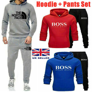 Mens High Quality Tracksuit Set Hoodie and Joggers Sweatsuit Top And Bottom GYM