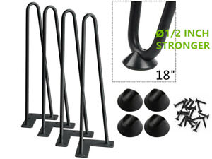 18 INCH Set of 4 Coffee Table Metal Hairpin Legs Solid Iron Bar Black
