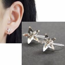 Star Swarovski Invisible Clip on Stud Earrings Comfy Clear Crystal Clip-ons