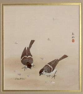 """UNKNOWN CHINESE ARTIST """"LOVEBIRDS"""" MIXED MEDIA ON SILK"""