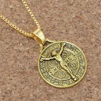 """Gold Jesus Crucifix Saint St Benedict Medal Cross Pendant Necklace 24"""" Box Chain"""