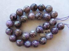 "16"" Strand Charoite Gemstone Large Polished Smooth Round Beads 14mm"