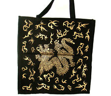 Black Gold Dragon Tote Bag Shopping Bag School Books Wiccan Pagan Altar Supply