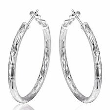 Womens New Fashion 925 Sterling Silver Plated Round Hoop Dangle Earrings Studs