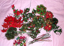70+ Lot Vintage Christmas Picks Mercury Balls Candle Holders Holly Poinsettia
