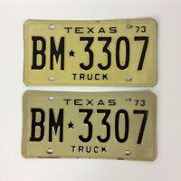Texas Truck 1973 License Plate Pair BM 3307 Black White Man Cave Hot Rod