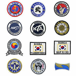 Taekwondo Hapkido Kumdo Embroidered Patches 4 pcs Lot Set  Kukkiwon WTF TKD MMA