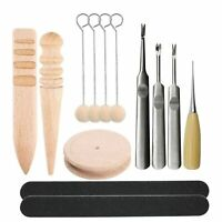 13pc Leather Craft Edge Skiving Beveler Multi-size Solid Wood Sanding With Wool