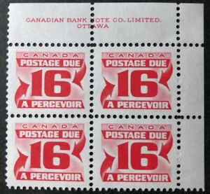 CANADA 1973 #J37, J37ii RED POSTAGE DUE 3rd ISSUE 16cent UR BLOCK OF 4 MNH