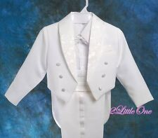 5 Pcs Set Boy White Formal Tuxedo Suit Vest Wedding Pageboy Kid Size 7 #001A