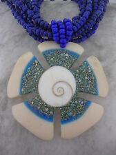 Shivas Eye Shell Operculum flower pendant blue multi-strand glass bead necklace