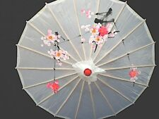 CHINESE JAPANESE S WHITE FLORAL PARASOL WEDDING DANCE FANCY GIRL UMBRELLA PARTY