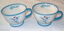 Set of 2 Starbucks Holiday JOLLY Snowflake Blue Footed Wide Mug Cup 10 oz 2007