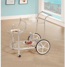 Cute White Serving Cart Rolling Stylish Decorative Design Tempered Glass Shelves